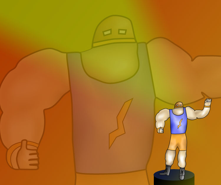 An original character sketch of a muscle man type figure.