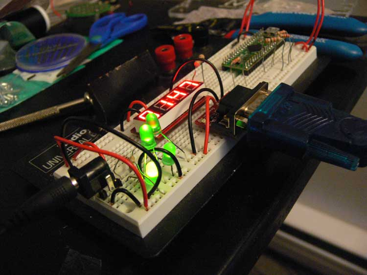 Testing the initial electronics on a breadboard.