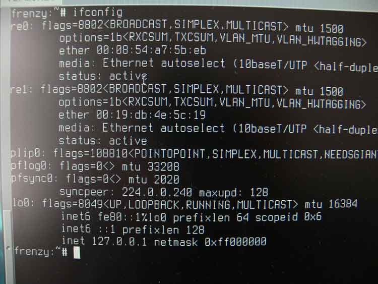 Output of the ifconfig command